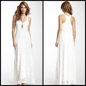 Seaton White Crochet Lace Racerback Maxi Dress